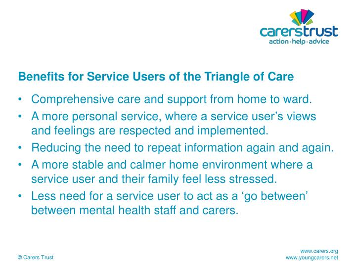 Benefits for Service Users of the Triangle of Care