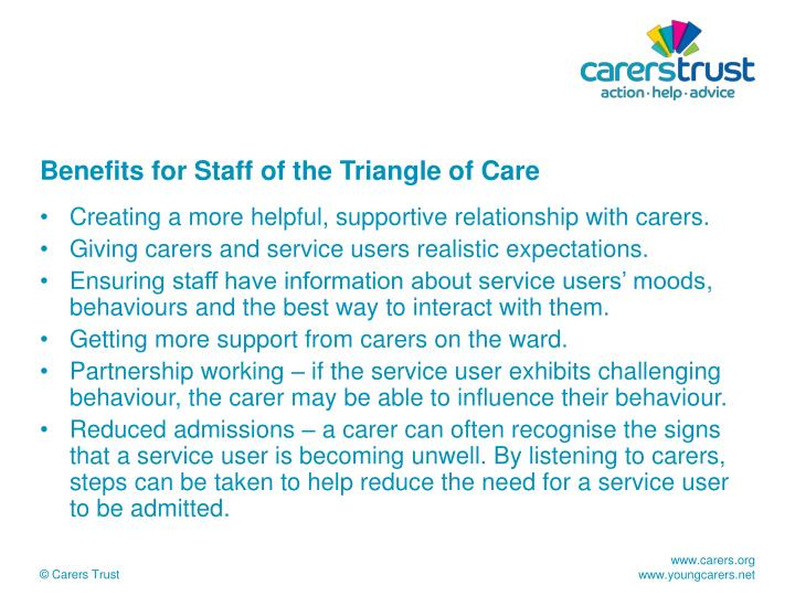 Benefits for Staff of the Triangle of Care