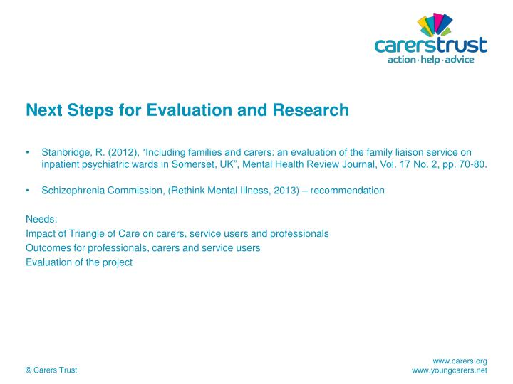 Next Steps for Evaluation and Research