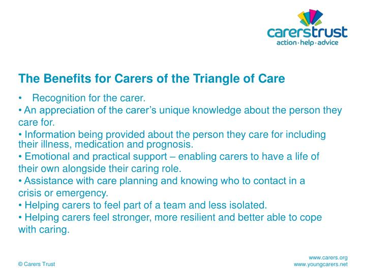 The Benefits for Carers of the Triangle of Care