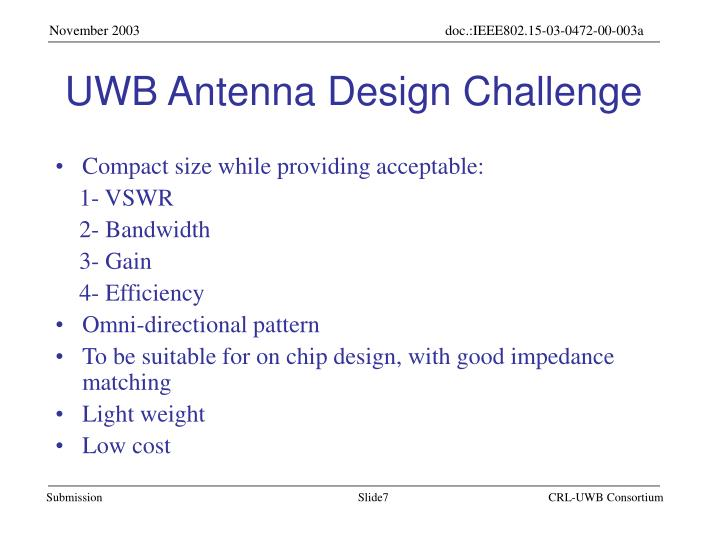 UWB Antenna Design Challenge
