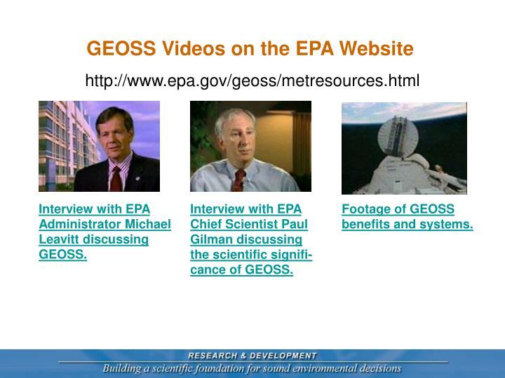 GEOSS Videos on the EPA Website