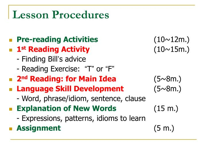 Lesson Procedures