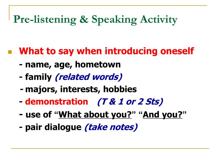 Pre-listening & Speaking Activity