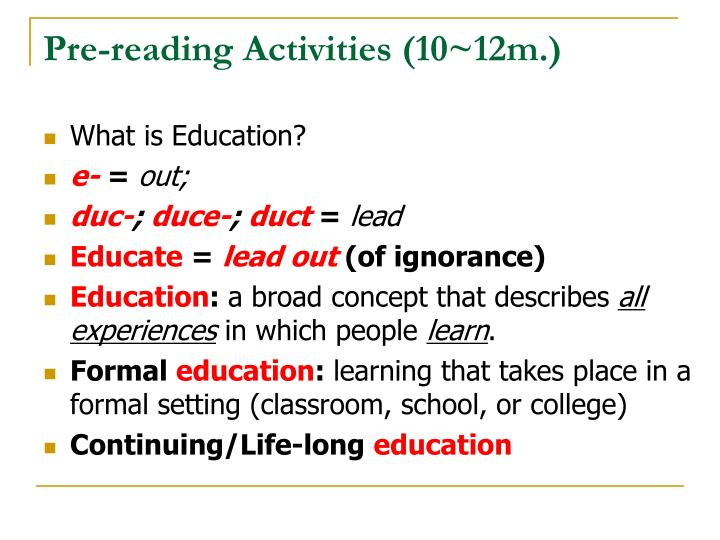 Pre-reading Activities (10~12m.)