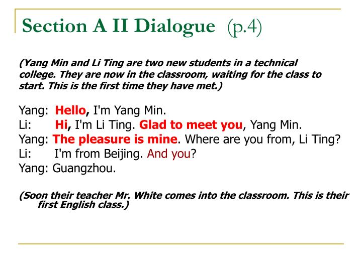 Section A II Dialogue