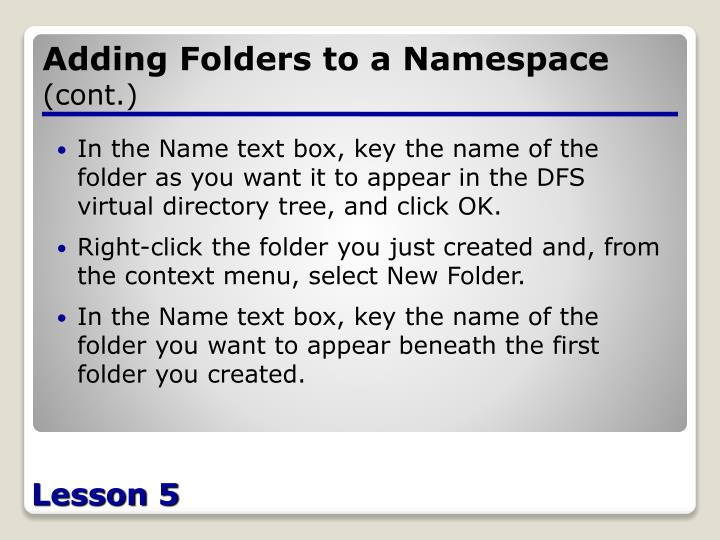Adding Folders to a Namespace