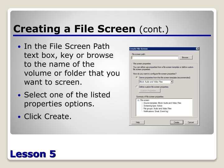 Creating a File Screen