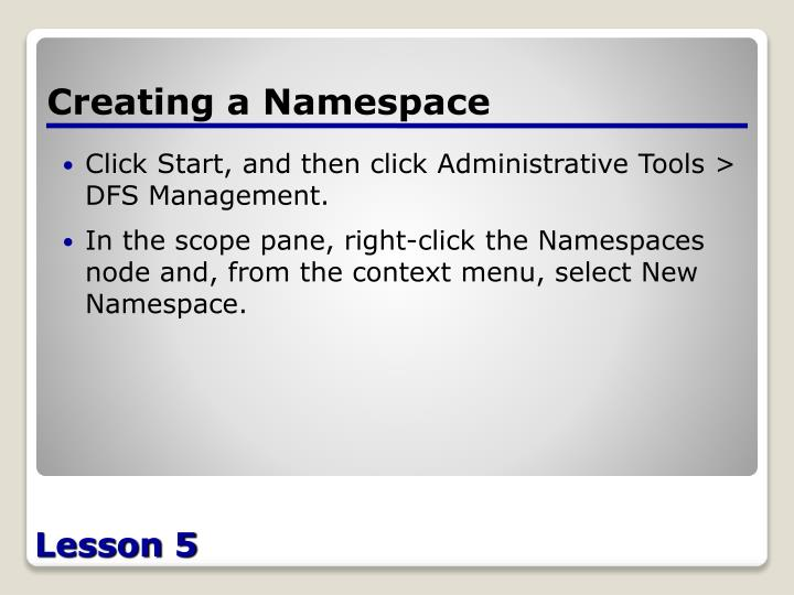 Creating a Namespace