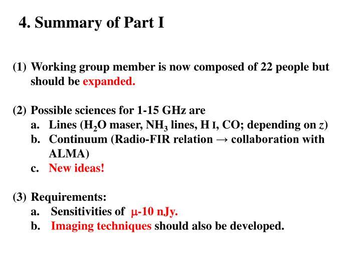 4. Summary of Part I