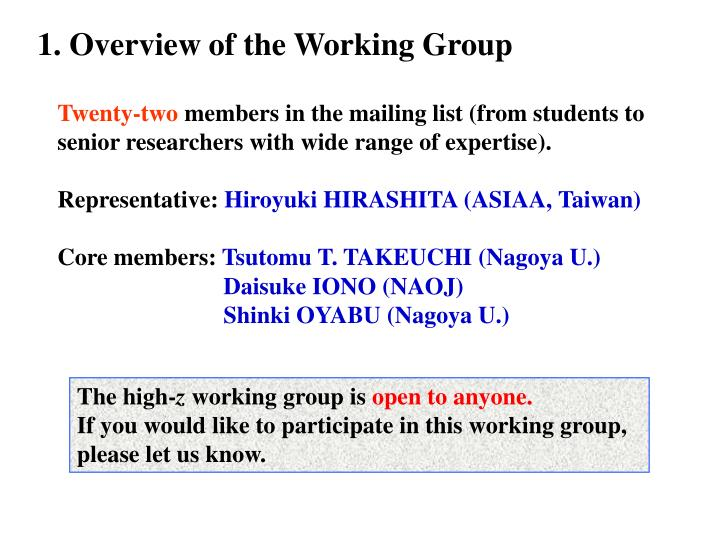1. Overview of the Working Group