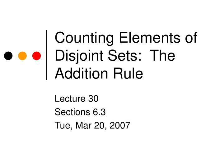 Counting elements of disjoint sets the addition rule