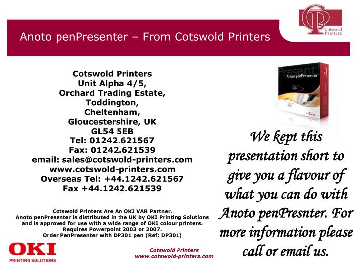 Anoto penPresenter – From Cotswold Printers