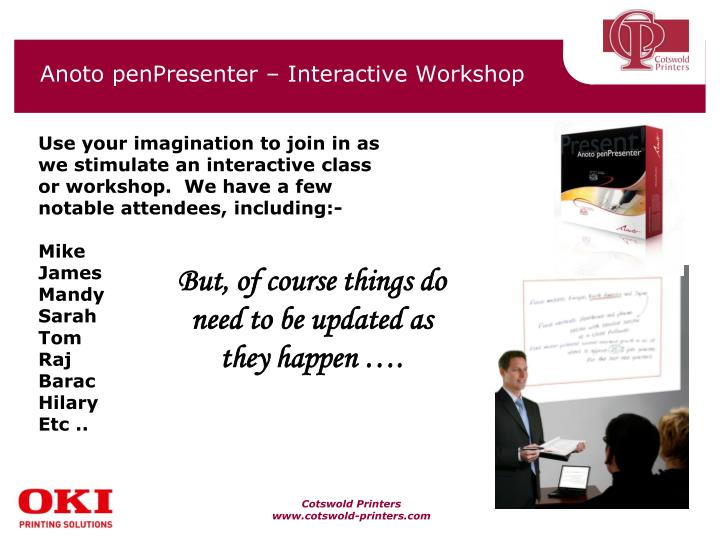 Anoto penpresenter interactive workshop