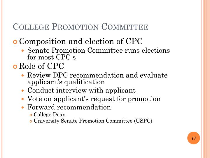 College Promotion Committee