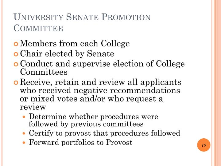 University Senate Promotion Committee