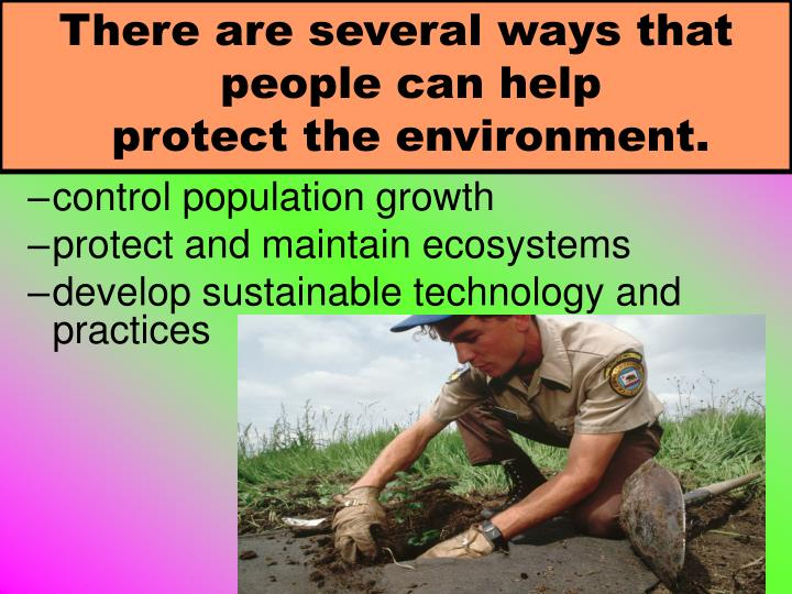 There are several ways that people can help             protect the environment.