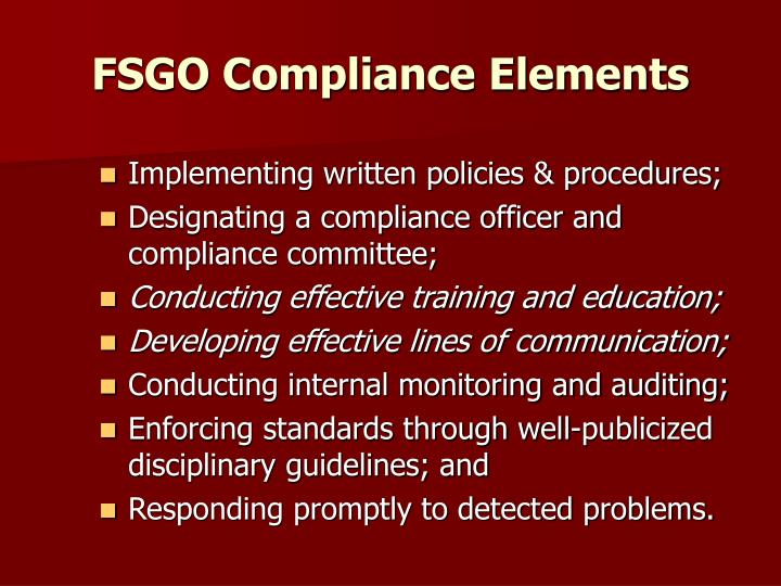 FSGO Compliance Elements