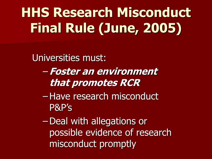 HHS Research Misconduct