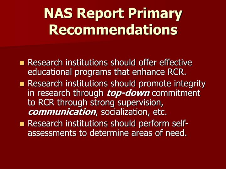 NAS Report Primary Recommendations