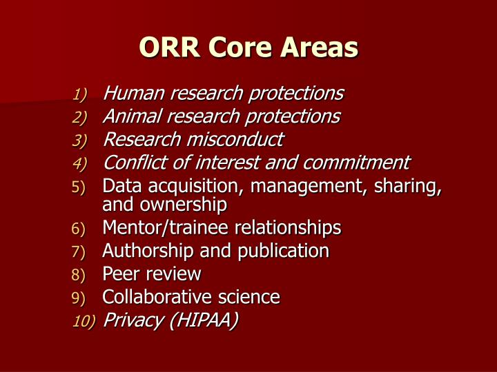 ORR Core Areas