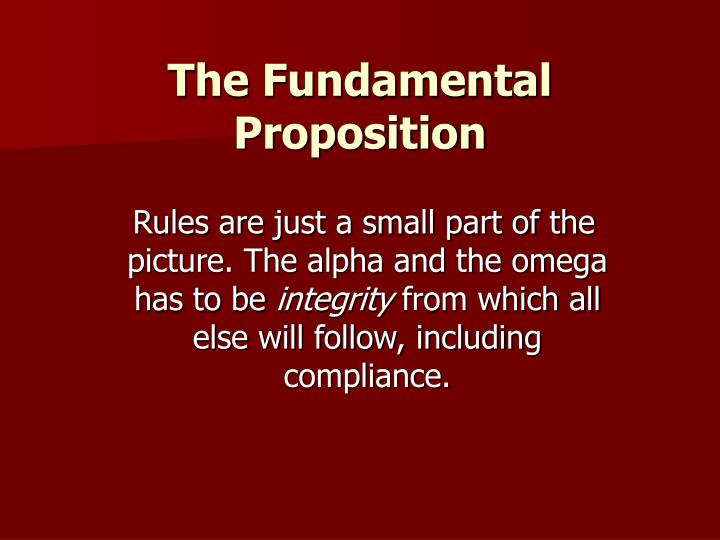 The Fundamental Proposition