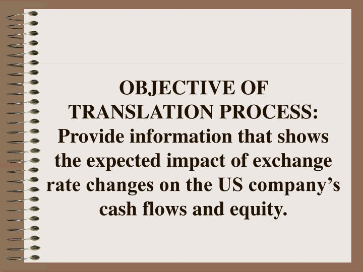 OBJECTIVE OF TRANSLATION PROCESS: