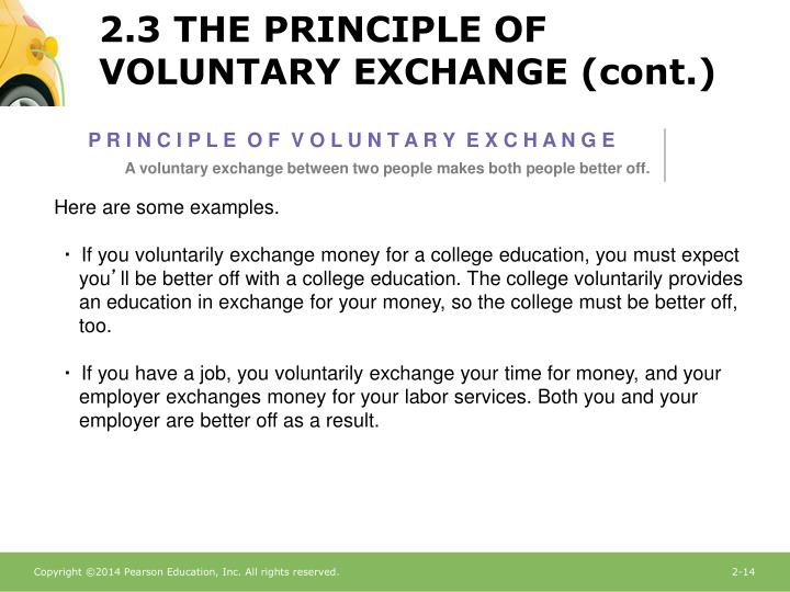 2.3 THE PRINCIPLE OF VOLUNTARY EXCHANGE (cont.)