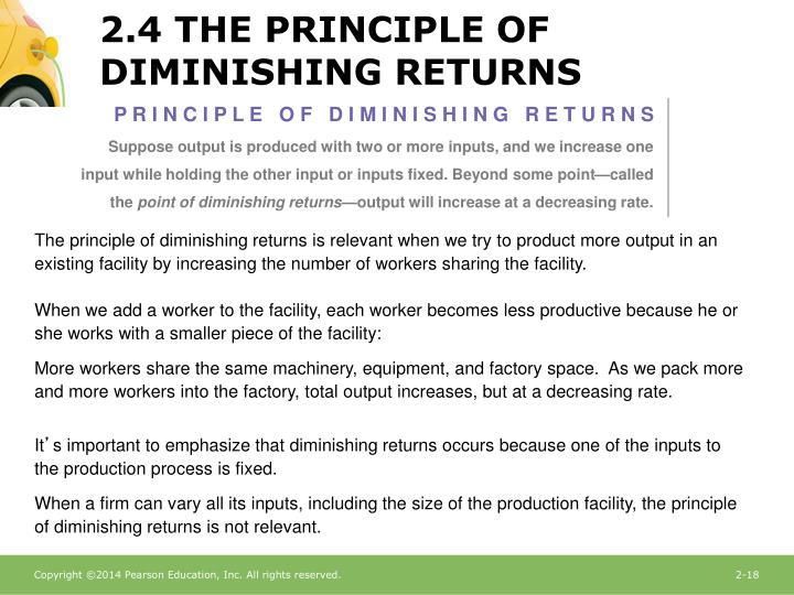 2.4 THE PRINCIPLE OF DIMINISHING RETURNS