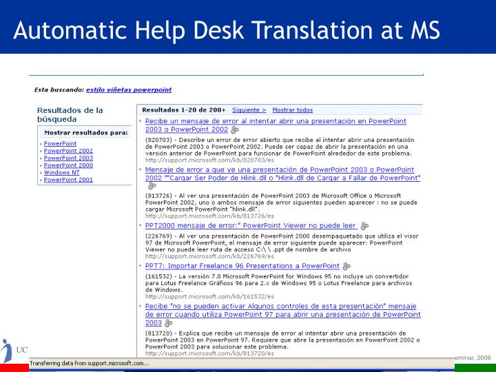 Automatic help desk translation at ms