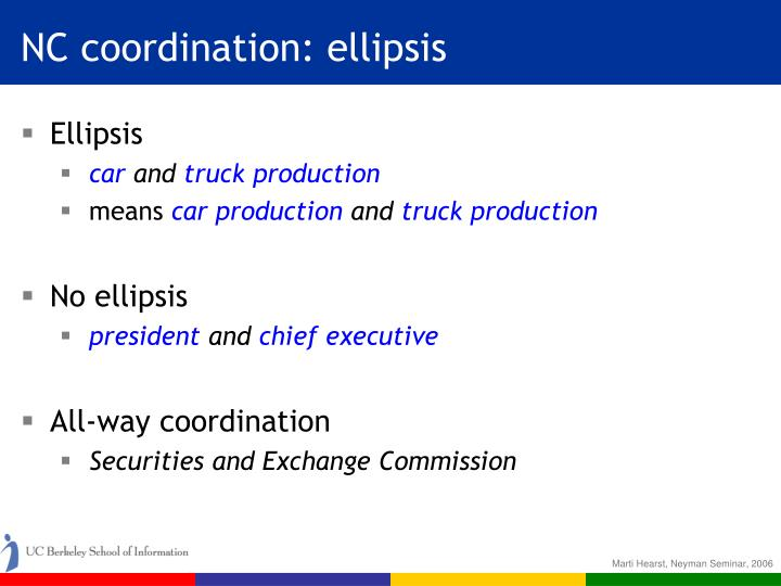 NC coordination: ellipsis
