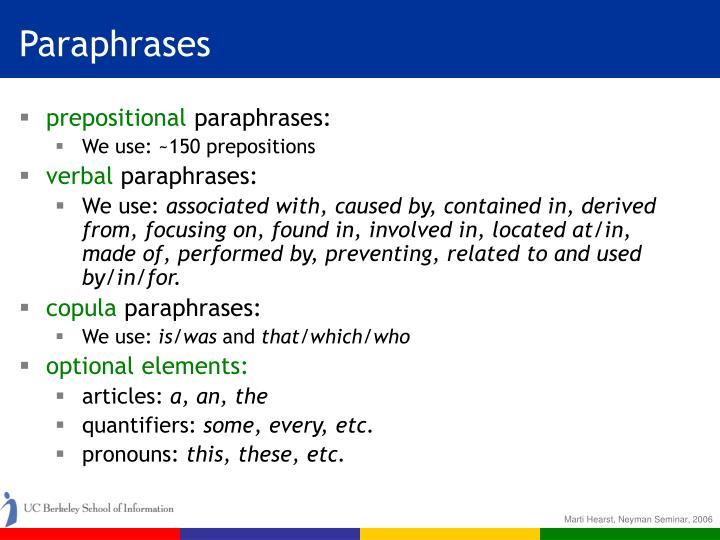 Paraphrases