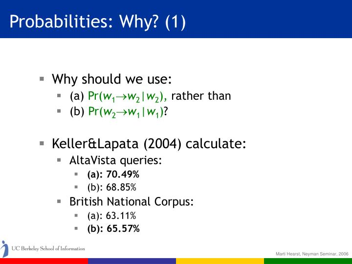 Probabilities: Why? (1)
