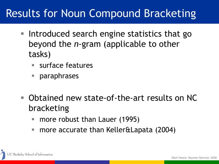 Results for Noun Compound Bracketing