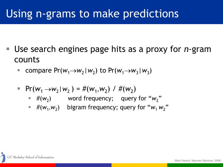 Using n-grams to make predictions