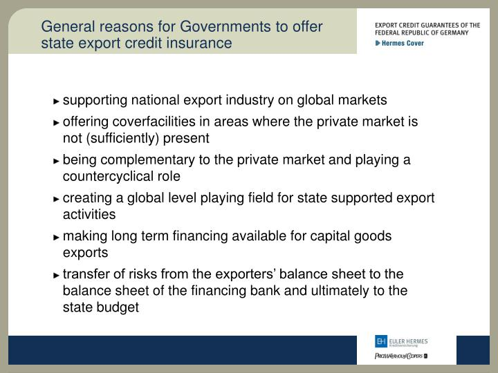 General reasons for governments to offer state export credit insurance