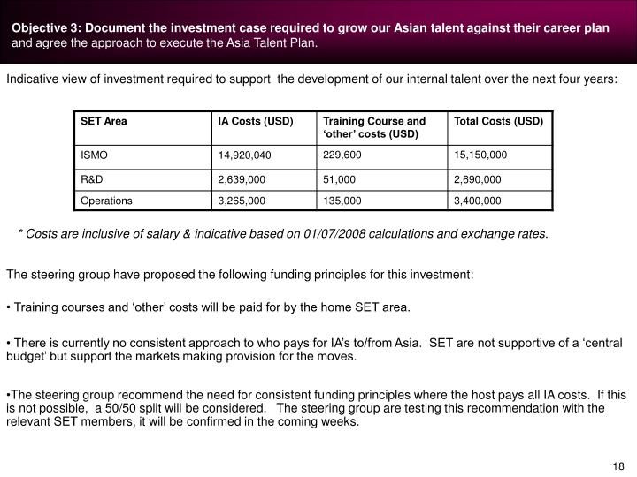 Objective 3: Document the investment case required to grow our Asian talent against their career plan