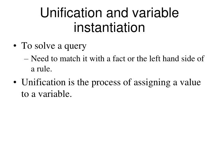 Unification and variable instantiation