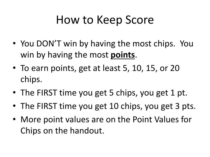 How to Keep Score