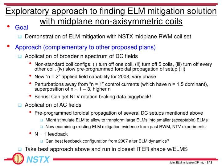 Exploratory approach to finding ELM mitigation solution with midplane non-axisymmetric coils