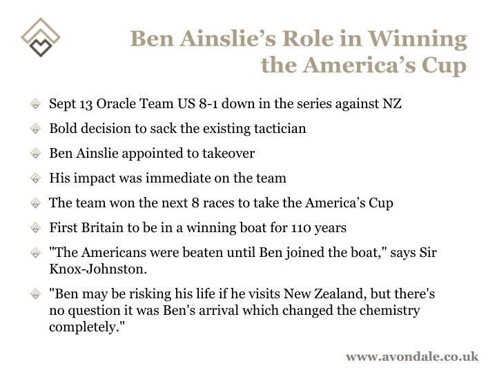 Ben Ainslie's Role in Winning the America's Cup