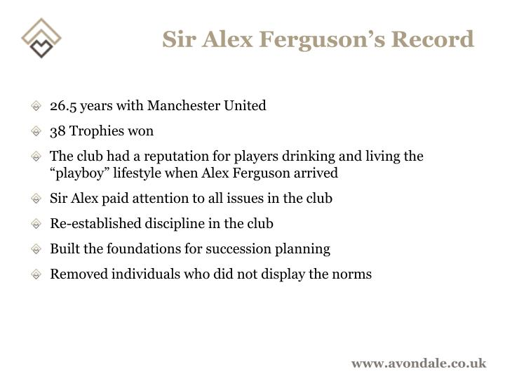 Sir Alex Ferguson's Record
