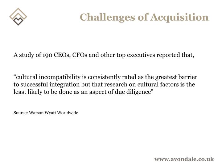Challenges of Acquisition