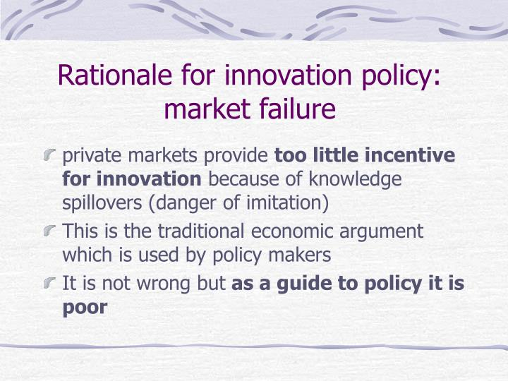 Rationale for innovation policy: market failure