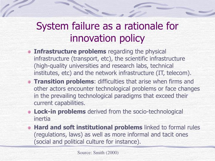 System failure as a rationale for innovation policy