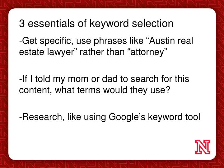 3 essentials of keyword selection