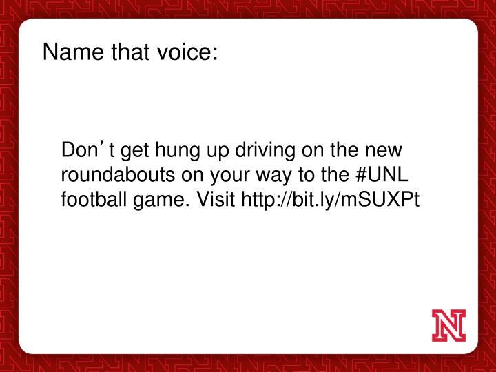 Name that voice: