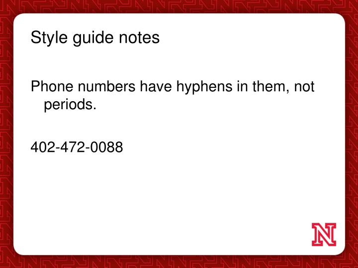 Style guide notes