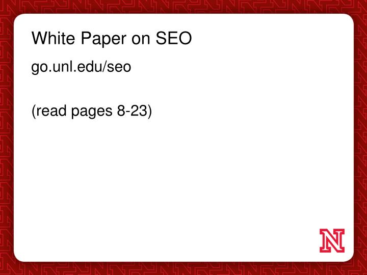 White Paper on SEO