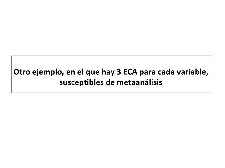 Otro ejemplo, en el que hay 3 ECA para cada variable, susceptibles de metaanálisis